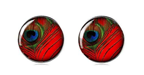 tizi Schmuck 925Sterling Silber Ohrring Ohrstecker 12mm Handgefertigt für Damen und Mädchen Rot Pfau Perfekte Geschenk oder für (Australien Schmuck Kostüm)