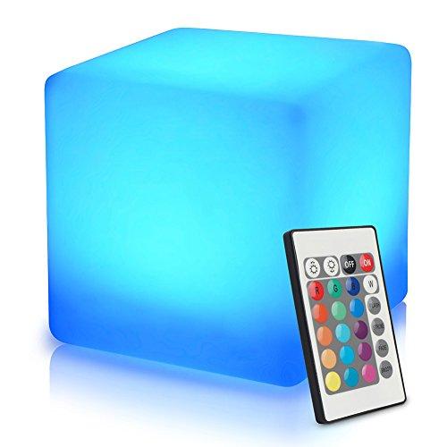 40cm Cube Lumineux LED Extérieur/Intérieur avec Télécommande, Batterie Multicolore Lampe de Nuit, Cube Tabouret Changeant de Couleur Imperméable avec 16 RGB Couleurs et 8 Luminosité Dimmable