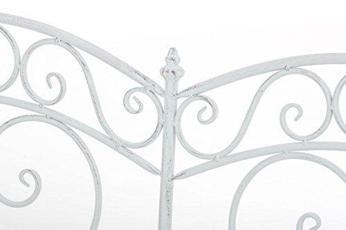 CLP Gartenbank SALIM im Landhausstil, aus lackiertem Eisen, 107 x 50 cm – aus bis zu 6 Farben wählen Antik Weiß - 5