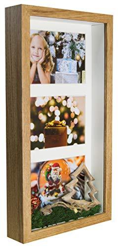 BD ART 18 x 35 cm 3D Box Mehrfach Bilderrahmen Eiche rustikal, Bildergalerie, Fotogalerie mit Passepartout und 3 Foto-Ausschnitten für Fotos 10 x 15 cm, Glasscheibe, Tief 3 cm
