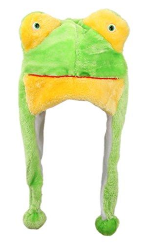 EOZY 18*30CM Chapeau Bonnet d'Hiver en Peluche Animal pour Femme Homme à la Maison #1 Grenouille / Vert