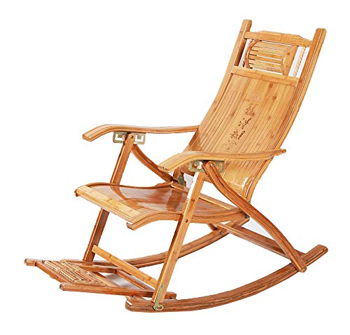 Chaises pliantes CJC Balancement Fauteuil Bascule Plate-Forme Relaxant Inclinable Chaises Longues Siège Bambou (Couleur : T3)