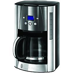 Russel Hobbs 23241-56 Machine à Café, Cafetière Filtre 1,8L Luna Inox, 12 Tasses, Programmable, Auto-Nettoyante - Gris