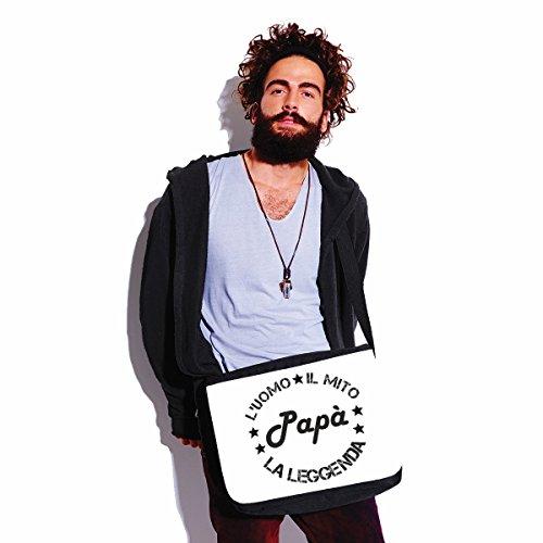 Borsa a tracolla Festa del Papà Luomo, il mito, la leggenda - papà - happy fathers day - idea regalo - - dimensioni 35x30x11,5 cm Bianco