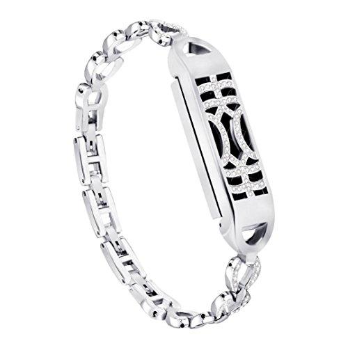 Uhrenarmbänder für Fitbit Flex 2, VNEIRW Diamant Metal Ersatzarmbänder Armbänder Smartwatch Zubehör VNEIRW_Elektronik (Über 5,5-6,7 Zoll, Silber)