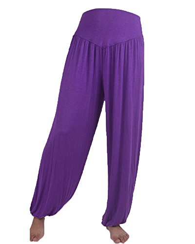 Donne Casuali Gamba Larghi Pantaloni Yoga Danza Sportivi Jogging Trousers Viola