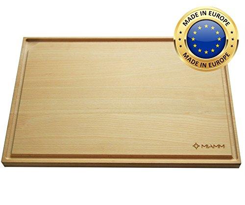 Planche à découper en bois avec récupérateur de jus et rigole - planche de cuisine extra large, Qualité Premium - 45x30x2,2cm - fabriquée en Europe en hêtre, la planche multifonctions et antidérapante !