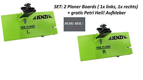 Set: 2 Stück Jenzi Side Planer , ca 14x6cm, Planer-Board+ gratis Petri Heil! Aufkleber -