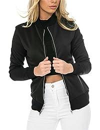 Ghope Blouson Femme Légère Veste/ Jacket Bomber Zip Slim 2017 Nouveauté Demi-Saison Noir/Vert/Rouge