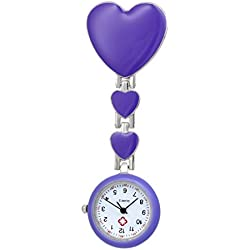 Good Pocket Watches For Nurses Clip-on Pendant Brooch Pocket Watch -Purple