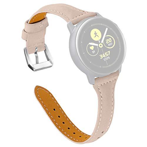 Preisvergleich Produktbild Feitb T-förmiger Lederband Armband uhrband, mit Metallverschluss,  Ersatzarmband, hochwertigem echtem Leder, Bequem Uhrenarmband,  für Samsung Galaxy Watch Active 20mm (Beige)