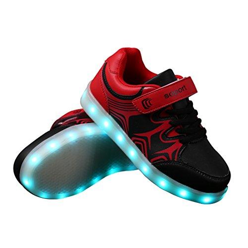 DoGeek - Led Chaussure Lumière Lumineuse - Garçon Fille - 7 Couleurs Lumière - USB Rechargeable Rouge