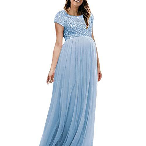 Kleider für Schwangere, Schwangere Pailletten Maxikleider Schwangerschaftskleid Langes Mesh Cocktailkleid Elegant Abendkleider für Schwangere Umstandskleid (Mesh-kleid Geraffte)