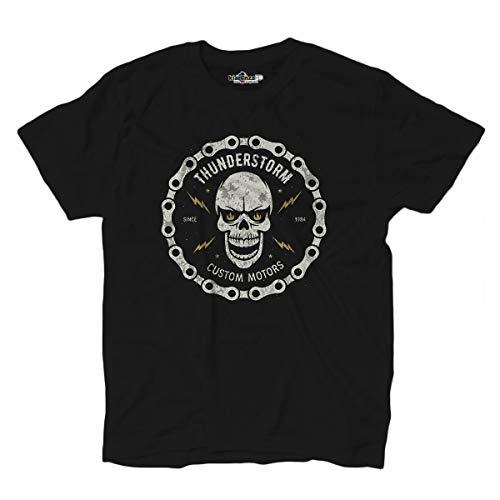 KiarenzaFD Rider Totenkopf Custom Motori Auto Skull Thunder Old School T-Shirt, KTS02269-XXL-black, schwarz, XXL (Harley Herren T-shirts Xxl Davidson)