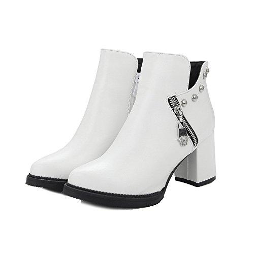 VogueZone009 Donna Cerniera Scarpe A Punta Tacchi Quadrati Alla Caviglia Stivali Bianco