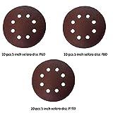 KHADIJA Round Sand Paper Velcro Disc 5 Inch for Orbital Sander- Combo of 30Pcs