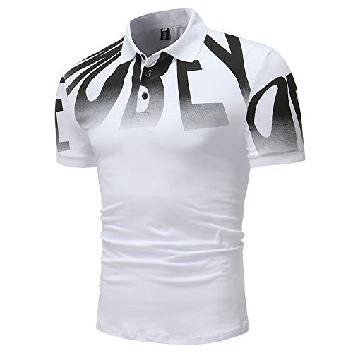 OLLOLCCY Herren Polo Shirts Kurzarm Digitaldruck Polo T-Shirts Plus Size M-3XL,White,XXXL (Lauren Ralph Polo 3xl)