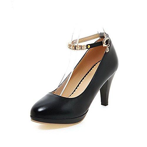 VogueZone009 Femme Boucle Rond Pu Cuir à Talon Haut Couleur Unie Chaussures Légeres Noir
