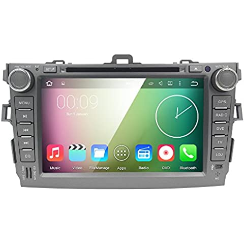 HIZPO 8 inch 1024*600 HD Monitor Quad Core Android 5.1 Lollipop Car Radio 2Din Stereo for TOYOTA COROLLA Support GPS Navigation SWC Car Radio Audio Video iPod WIFI 3G USB SD CAM-IN OBD2 DAB