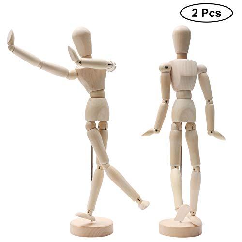Hölzerne Mannequins (2 Pcs)- 30,48cm Menschliche Gliederpuppe aus Holz - Posierbare Modellpuppe mit Ständer, Zeichenpuppe, Holzfigur Zeichnen - Hölzerne Künstlerpuppe für Kunst (Männlich und Weiblich)