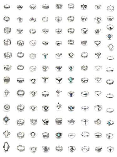 Milacolato 52-109Pcs Vintage Silber Gold Knuckle Ringe Damen Mädchen Midi Finger Ringe Set für Damen Stapelbar Ringe
