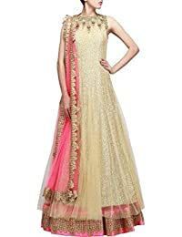 MEGHALYA Golden Color Embroidered Dress For Women (Semi-stitched)
