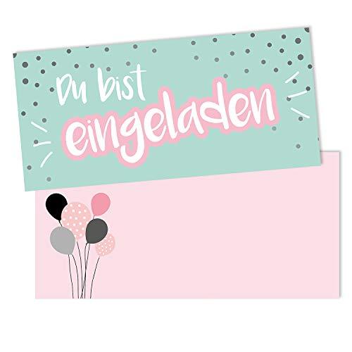 #detailverliebt 15 Einladungskarten mit Umschlägen I DIN lang I Einladung Set Kinder-Geburtstag zum Ausfüllen für Kinder Mädchen rosa grün I dv_514 türkis