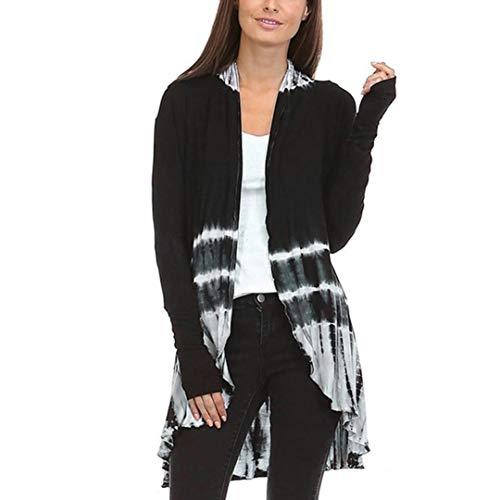 LILICAT Women's Casual Asymmetric Drape Open Long Sleeve Tunic Tops Waterfall Cardigan Outwear Women Fashion Tie-Dye Hi-Low Open Cardigan Long Sleeve Asymmetric Top Blouse