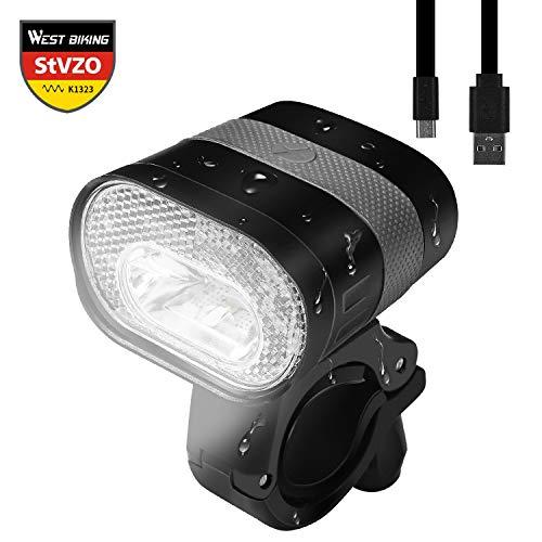LED Fahrradlicht Set, StVZO Zugelassen USB Wiederaufladbar Fahrradbeleuchtung, Wasserdicht Frontlicht Rücklicht, 3200mAh 320Lumen Fahrradscheinwerfer Fahrradlampe Radsport Zubehör (Schwarz-A)