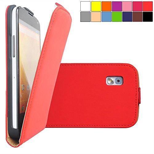 COOVY® Cover für LG LG Google Nexus 4 E960 Slim Flip Case Tasche Etui inklusive gratis Displayschutzfolie | Farbe rot - 4 Defender Case