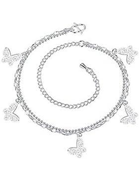 Boowhol Damen Mädchen schmetterling Doppelketten Armbänder/ Fußkettchen Fußkette Verstellbar aus 925 Sterling...