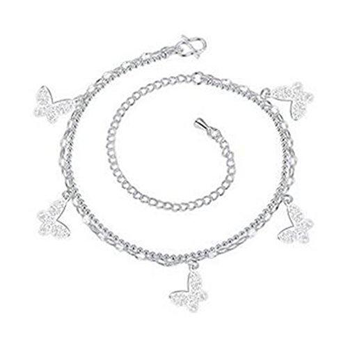Boowhol Damen Mädchen schmetterling Doppelketten Armbänder/ Fußkettchen Fußkette Verstellbar aus 925 Sterling Silber (Silber)