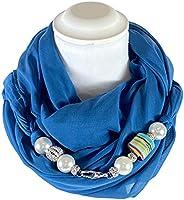 Sciarpa Gioiello Tinta Blu Ottanio Con Perle In Resina E Cristalli Montati In Chiusura. Prodotto Artigianale,
