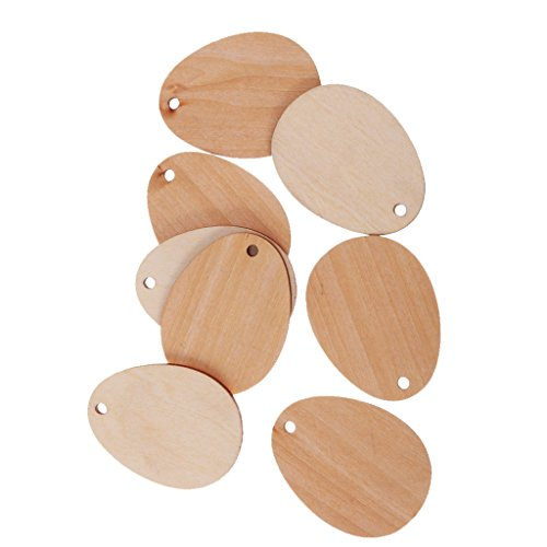 MagiDeal Pack of 50 Wooden Shape Unfinished Egg Embellishments for Crafts with Hole - 6cm