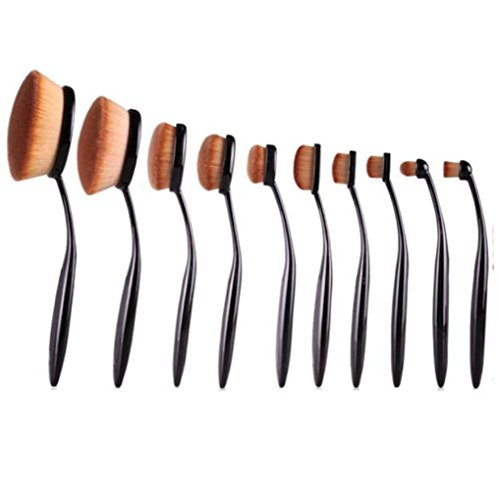 10PC / Set Brosse Sourcils Eyeliner Fondation Lip Oval Brosses Fulltime®