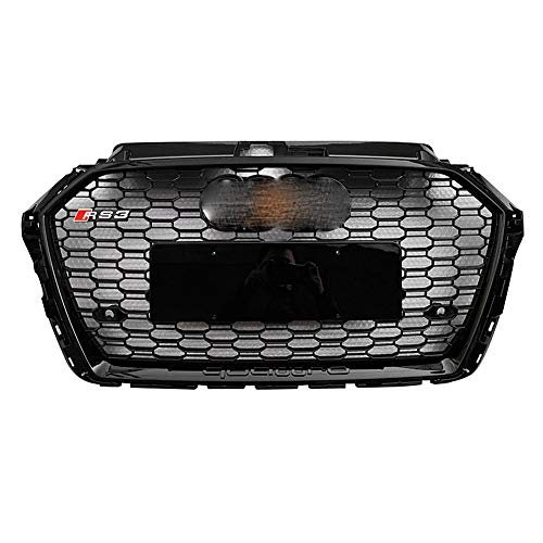 Front Sport Hex Mesh Honeycomb Hood Grill für AUDI A3 Kühlergrill Ändern AUDI RS3 High Guality Grill Gloss Black Grille 2017 2018 2019