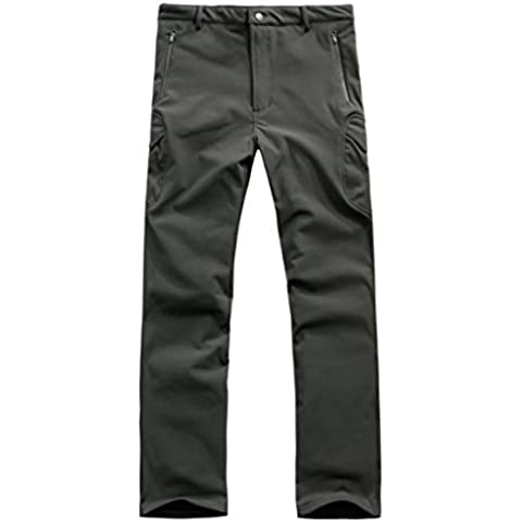 Lorata Pantalones de Soft Shell para Hombres Impermeable A Prueba de Viento con Fleece para Ciclismo Motociclismo Senderismo Deporte al Aire Libre Gris L