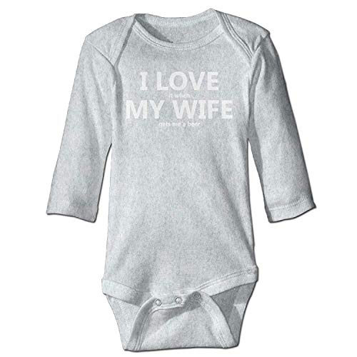 Unisex Newborn Bodysuits I Love My Wife Funny Beer Humor Baby Babysuit Long Sleeve Jumpsuit Sunsuit Outfit Ash