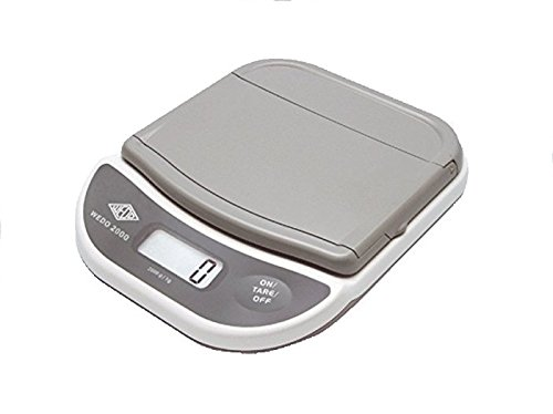 Wedo 502000 Elektronische Brief- und Päckchenwaage (mit Klappteller 2000g/1g) weiss/grau