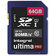 Integral 64GB SDXC UltimaPro 64GB SDXC UHS-I Class 10 memoria flash - Tarjeta de memoria (SDXC, 0 - 70 °C, UHS-I, Class 10, exFAT, Ampolla)