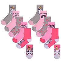 Girls 10 Pairs Ankle Socks Childrens Kids Design Unicorn Socks Character Socks