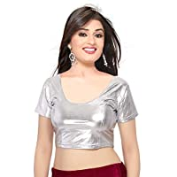 Indian Ethnic Design Stretchable Cotton Lycra Blouses Silver Tops Readymade Saree Blouses Short Sleeve Crop Top