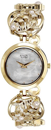 Titan Women's 'Raga Aurora' Quartz Stainless Steel and Brass Casual Watch, Color:Gold-Toned (Model: 2540YM05)