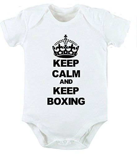 Keep Calm and Keep Boxing Baby Grow New Born Cute Funny Baby Geburtstag Geschenk Unisex Body Grow Weste–Alle Größen