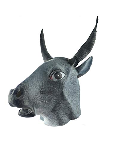 Latex Spielzeug Tierkopf Maske Für Halloween-Kostüm (Black Bull) ()
