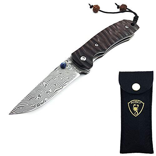 AUBEY Damast Klappmesser Holzgriff Taschenmesser Klein, EDC Outdoor Messer Damastmesser Einhandmesser Holz Damaststahl Pocket Knife