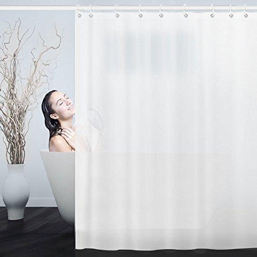 Isimsus tende da doccia impermeabile, tenda doccia lavabile in lavatrice con 12 ganci tende per la doccia antibatterica anti-muffa peva tenda da doccia in poliestere (180x200cm, bianco)