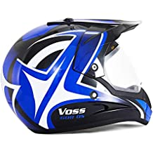 DUEBEL HD803 Casco de Moto Motocross *ECE 2205 APROBADO* Road Legal Azul (M