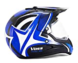 DUEBEL HD803 Casco de Moto Motocross *ECE 2205 APROBADO* Road Legal Azul (M)