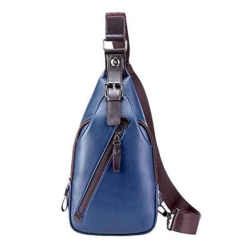 LEUM Shop mothcattl Men Outdoor Casual Faux Leather Chest Bag Waist Pack Crossbody Shoulder Pouch Blau